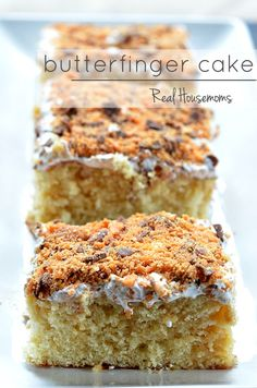 This recipe for Butterfinger Cake is so simple and completely ah-mazing!!!!!!