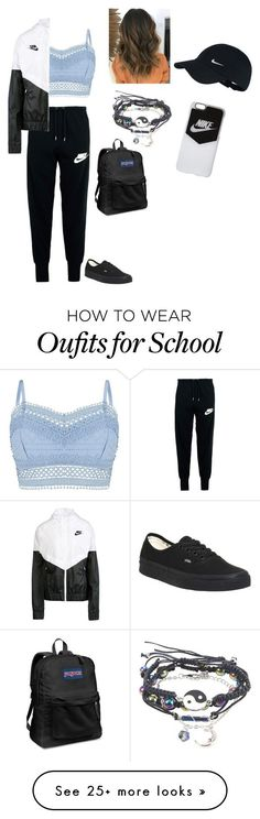 """My school look"" by sahar-i-my-name on Polyvore featuring Lipsy, NIKE, JanSport and Vans"