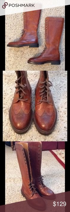 COLE HAAN LEATHER WING TIP LACE RIDING BOOTS, NWOT NWOT Cole Haan sz 5 1/2 B tall leather lace up WING TIP riding boots. Just gorgeous!  Will ship right away. Check out my other designer items Cole Haan Shoes Combat & Moto Boots