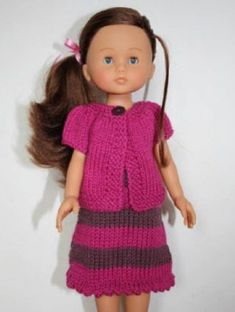 Little Louena et Kina Knitting Dolls Clothes, Crochet Doll Clothes, Knitted Dolls, Girl Dress Patterns, Doll Clothes Patterns, Clothing Patterns, Doll Patterns, Girls Knitted Dress, Nancy Doll
