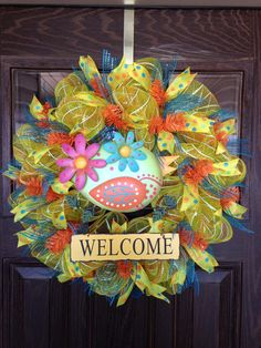Yellow Summer / Housewarming Wreath With Welcome Sign on Etsy / 126.