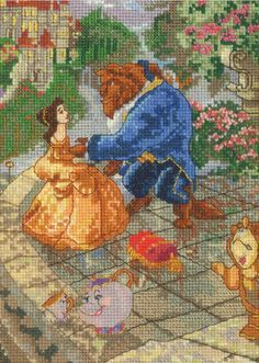 MCG TEXTILES-Counted Cross Stitch: Disney Dreams Collection. Capture the magic of the Disney fairytale. This kit contains 16-count 100% cotton cream Aida cloth; 100% cotton floss; decorative thread; n