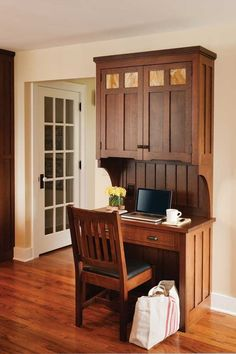 Perfect Kitchen for a Pottery Collector - Furniture - Craftsman kitchen desk – Crown Point Cabinetry – Arts & Crafts Homes and the Revival - Arts And Crafts Interiors, Arts And Crafts Furniture, Arts And Crafts House, Easy Arts And Crafts, Home Crafts, Kids Crafts, Home Furniture, Craftsman Furniture, Furniture Dolly