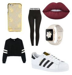 """""""Sin título #1"""" by ivana-olvera ❤ liked on Polyvore featuring adidas, Lime Crime and Calvin Klein"""