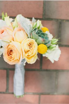Peach, Yellow, and Green Bouquet | A San Francisco Wedding at Fort Mason General's Residence by onelove photography via StyleUnveiled.com