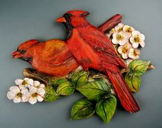 Cardinals. Couple. Carved on wood. by DavydovArt on Etsy