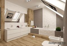 Łazienka styl Nowoczesny - zdjęcie od design me too Bathroom Inspiration, Double Vanity, Bathroom Lighting, Bathtub, Mirror, House, Furniture, Design, Home Decor