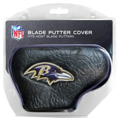 NFL Baltimore Ravens Blade Putter Cover by Team Golf. $16.99. Officially licensed product. 2 location embroidery includes both logo and wordmark. Fits most blade putters. Made with Buffalo Vinyl and Polyester Knit. Easily slips on and off the putter. NFL Baltimore Ravens Blade Putter Cover. Save 15% Off!