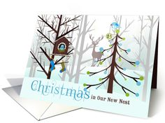 The beautiful contemporary hues in apple green, chocolate brown and sky blue give this Christmas card a trendy feel. The woodland deer in the background watches the two little birds trim the tree and hang their stockings while sending a sweet message from your First Christmas in your New Home by Doreen Erhardt at GreetingCardUniverse.com #anycardimaginable