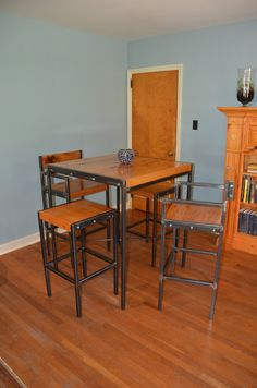 Industrial Style Bistro Table With Four By Donyacovella On Etsy, $2000.00