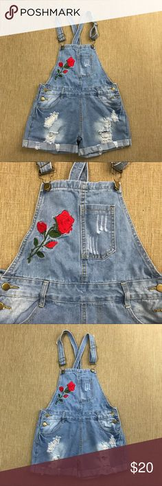 70e9c0035b95 Denim Overalls Embroidered Roses Distressed M Denim Overalls Embroidered  Roses Distressed M. Absolutely adorable! Like new - worn once.