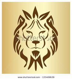 Lion face vintage silhouette icon vector