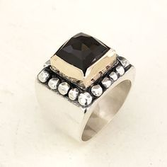 black crystal silver ring Silver Rings Handmade, Sterling Silver Rings, Gold Rings, Silver Jewelry, Quartz Ring, Smokey Quartz, Black Crystals, Rings For Men, Wedding Rings