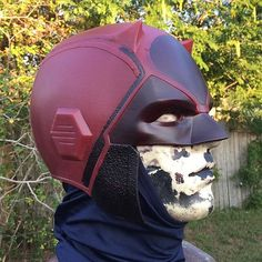 Started blocking in the darker red and black on @punishernc's helmet. I'll be vacforming the lenses this weekend. Ignore the blue under hood just using to protect cowl from my old busted armature. #marvel #netflix #daredevil #helmet #cowl #cosplay #costume #jordansironicarmory #smoothon #reynoldsadvancedmaterials #vytaflex40 @smoothon @ramaterials : @graphicjordan