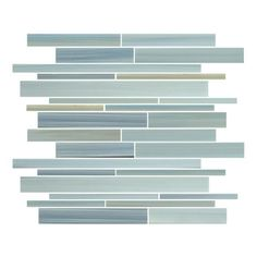 """Rocky Point Tile - Reflections Linear Glass Mosaic Tiles, 10 Square Feet - Introducing our new Reflections linear glass mosaic tiles. A hand painted mix of soft greens, blues, ocher, and a touch of black. Each sheet is 12"""" x 12"""" and includes a complex mix of random rectangular glass pieces. Reflections is also available in a small subway mosaic. A great choice for a kitchen backsplash or accent wall in a bathroom. These tiles repeat every 6 inches making for a great accent strip for a shower…"""