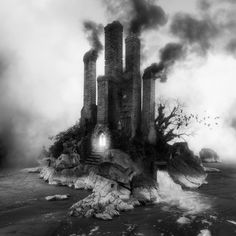 Sinister Architecture Constructed from Archival Library of Congress Images by Jim Kazanjian | untitled[Grotto] 2014