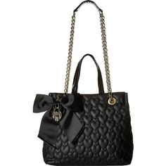 Betsey Johnson Be Mine Chain Shopper (Black) Satchel Handbags ($55) ❤ liked on Polyvore featuring bags, handbags, tote bags, black, handle satchel, shopping tote bags, satchel handbags, quilted tote bag and betsey johnson tote bags