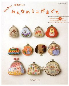 Kawaii Mini Clasp Purse Case - Japanese Pattern Book for Gamaguchi - Felt Applique, Sewing, Embroidery Stitch, Patchwork Design - B1393