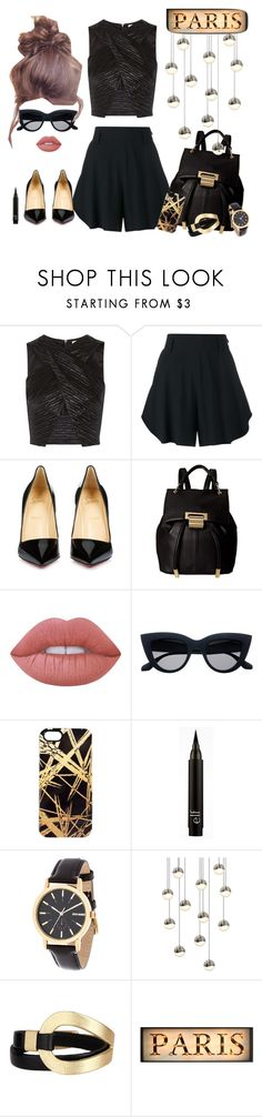 """""""black&gold Xtop"""" by susy-sf ❤ liked on Polyvore featuring L'Agence, Chloé, Christian Louboutin, Ivanka Trump, Lime Crime, Khristian A. Howell, Steve Madden, Sonneman, Saachi and gold"""