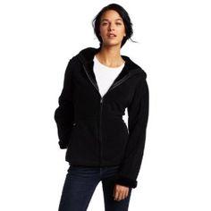 Jones New York Women's Hooded Fleece Jacket, Black, Medium (Apparel)