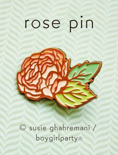Rose Enamel Pin - Right & Left Facing Collar Pin Set by boygirlparty on Etsy