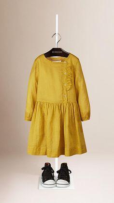 Citrus yellow Frill Detail Cotton Dress - Image 1
