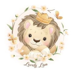 Lion Illustration, Watercolor Illustration, Baby Animal Drawings, Cute Drawings, Lama Animal, Doodles Bonitos, Dream Catcher Art, Lion Drawing, Cute Lion
