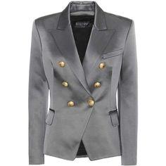 Balmain Cotton-Blend Blazer (134.090 RUB) ❤ liked on Polyvore featuring outerwear, jackets, blazers, grey, gray jacket, gray blazer, grey blazers, balmain blazer and grey jacket