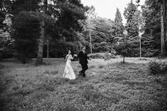 A documentary photograph of a bride and groom walking through the woods during their beautiful, laid back wedding in New England Gina Brocker Photography Laid Back Wedding, New England, Documentaries, Groom, Wedding Photography, Bride, Wedding Dresses, Woods, Walking