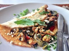 Grain Free Crepes Stuffed With Chicken, Peppers, and Kale