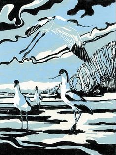 Four Avocets in June by Max Angus - I've got this print.