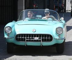 Nice model: Kendall Jenner took pal Hailey Baldwin out for a spin in her 56 Chevrolet Corvette on Saturday