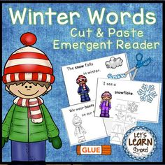 Winter Words Emergent Reader and Cut and Paste Reader, Winter Activities Fun Winter Activities, Literacy Activities, Learning Resources, Literacy Centers, Winter Words, Kindergarten Lesson Plans, Emergent Readers, Cut And Paste, Winter Theme