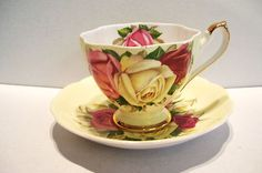 Vintage Queen Anne Tea Cup and Sucer Yellow with Roses England Bone China   eBay
