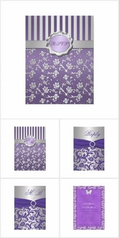"""Assorted Purple and Silver Wedding Designs -**EXPLORE an Amazing Collection of  """"Theme Matching Wedding Invitation Sets"""" by Visiting... http://WeddingInvitationSets.com"""