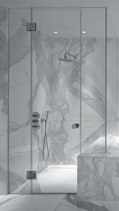 Glazen douchedeur type C met ingekort paneel zonder profielen