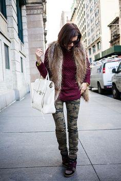 "Twelfth Street by Cynthia Vincent Vest / H Sweater / Zara Pants / Ash ""Cool Ter"" Sneaker / 3.1 Phillip Lim Pashli Satchel /"