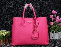 2014 Cheap Prada Saffiano Cuir leather tote peony pink,Prada bags 2014