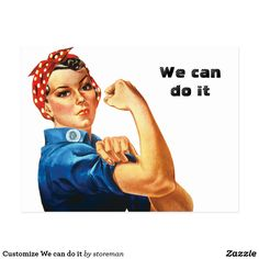 """""""Rosie the Riveter Tshirt"""" Stickers by simpsonvisuals Rosie The Riveter Poster, Work Overalls, Speech Balloon, We Can Do It, Postcard Size, Smudging, Paper Texture, Red And White, Lettering"""