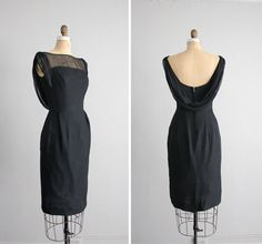 The universal little black dress. Very elegant design - 1960s vintage Jonathan Logan chiffon party dress by allencompany, $209.00