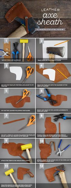 Learn how to make a DIY Leather Axe Cover - Lia Griffith - www.liagriffith.com #diyinspiration #diyproject #diyprojects #diyidea #diyideas #leather #leathercraft #diychristmasgift #madewithlia
