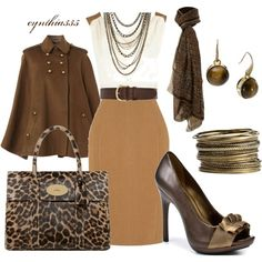 Classy and stylish brown outfit Fashion Moda, Work Fashion, Womens Fashion, Fashion Tips, Moda Safari, Safari Chic, Mode Collage, Style Feminin, Dress For Success
