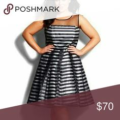 City chic stripe dress, size xxl plus size 24-26w City chic black and silver striped dress. Worn once & dry cleaned. Size xxl/24. http://shop.nordstrom.com/s/city-chic-shadow-shimmer-fit-flare-dress-plus-size/4127037 City Chic Dresses