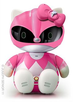 IRON ON Hello Kitty Pink Ranger Patch