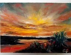 Gail Grant impressionism oil painting marshland sunset original COA signed OOAK #Impressionism