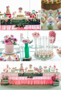 Sweet as Spring Dessert Table with SUCH CUTE IDEAS via Kara's Party Ideas | KarasPartyIdeas.com #SpringtimeParty #BreastCancerAwareness