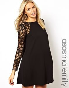 ASOS Maternity Swing Dress With Lace Sleeve - with fun colored belt?