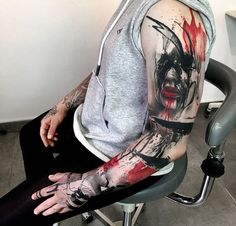 tattoos_and_tattoo_arts - the best tattos Skull Tattoos, Arm Tattoos, Black Tattoos, Body Art Tattoos, Sleeve Tattoos, Cool Tattoos, Future Tattoos, Tattoos For Guys, Tatuagem Trash Polka