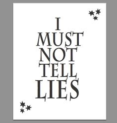 I Must Not Tell Lies - Harry Potter 8x10 Printable Poster on Etsy, $2.00