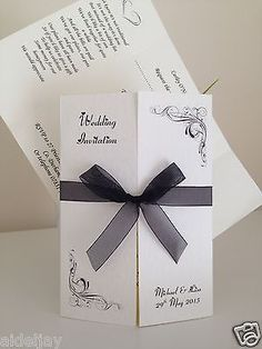Personalised Gatefold Wedding Invitations x 50 - FREE RSVP Cards to Match